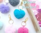 Two Dollar Tuesday Heart Shaped Pom Pom Keychain