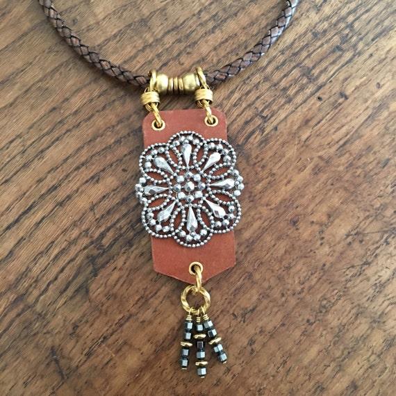 Antique Marcasite Buckle Leather Necklace