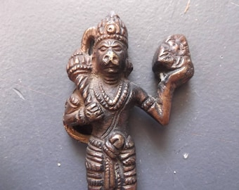 Antique Lord Hanuman Hindu God statue,Monkey King,Hinduism,Mythology,Hindi,Hindu,Brass,strength,devotion,perseverance.