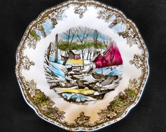 """Pair of Friendly Village Ironstone Saucers: """"The Ice House"""" by Johnson Bros."""