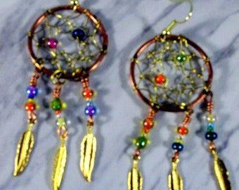 Beaded Copper Dream Catcher Earrings