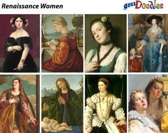 Renaissance Women Collage Sheet ~ Women from Renaissance paintings for collage, ATC, and clipart ~ Digital collage sheet
