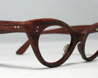 Woodgrain Cat Eye Glasses