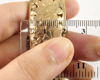Ming's Hawaii Four Seasons Flower  20mm 14k Yellow Gold Hinged Bangle Bracelet