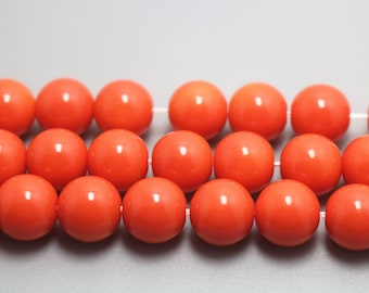 5 Strands,10mm Orange Glass Beads,Smooth And Round Beads,15 inches per strand