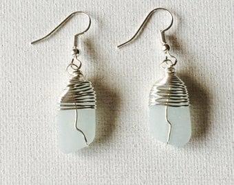 Hawaii Sea Foam Sea Glass Silver Wire Wrapped Dangling Earrings