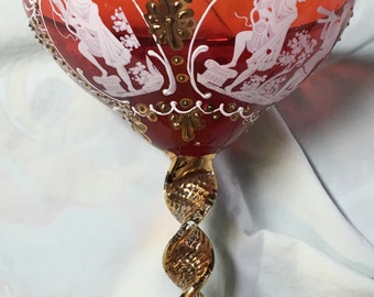 Beautirul red vintage Murano glass hand-painted goblet with 24k gold trim