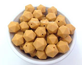 14mm Mustard Mini ICOSAHEDRON Silicone Beads, Mini icosahedron Silicone Beads, 100% Food Grade Silicone Beads, BPA Free, Sensory Beads