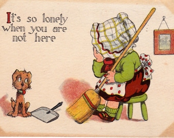 Illustrated Comic Postcard with Dog and Little Girl 1900's I'm so Lonely When You are Not Here