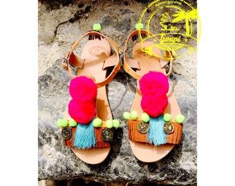 "Handdecorated leather sandals, ""Pixie"", bohemian sandals,tassel sandals,ethnic sandals,pompom sandals,pink fuschia sandals,fringe sandals"