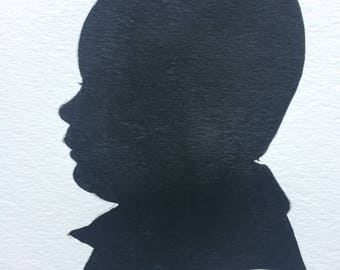 8 by 10 Custom Hand Painted Silhouette Portraits - Unique Gift ideas / custom silhouette / custom silhouette portraits