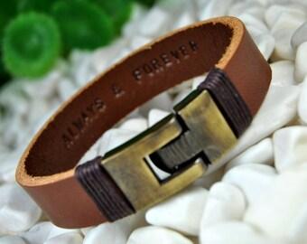 Personalized Leather Bracelet, Engraved Bracelet, Men's Bracelet, Women's Bracelet, Hidden Message, Custom Leather Bracelet, Bronze Clasp