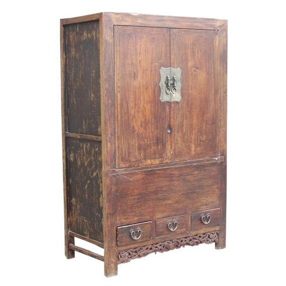 30% Off - Antique Chinese Scholar's Cabinet, Antique Asian Cabinet, Antique Armoire, Wardrobe Armoire, Asian Armoire, Clothing Armoire