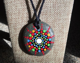 Mandala Necklace, Hand Painted Rock, Pendant