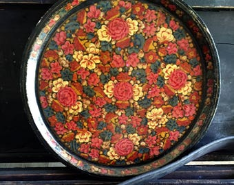 Antique Tole Ware Tray Folk Art Floral Painted Wooden Charger or Decorative Platter Roses With Gold and Black Lacquer 1800s?