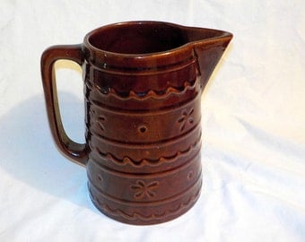 LARGE Mar-Crest Pitcher, Daisy and Dot, Colorado Brown