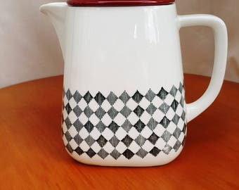 Rorstrand 'Red Top' Tea Coffee Pot by Marianne Westmann 1950s Mid Century Ceramic