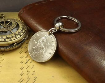 1971 British Ten New Pence Coin Keyring 47th Birthday Gift