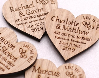 Save The Date Magnet, Rustic Heart Wooden Wedding Magnet, Rustic Wooden Save the Date Personalised Wedding Invite, Custom Wedding Magnet