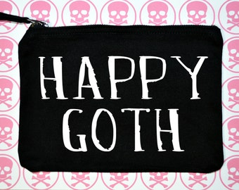 Happy Goth makeup bag - Happy Goth cosmetic bag - funny makeup bag with free mirror - funny makeup bags - funny bag - funny bags