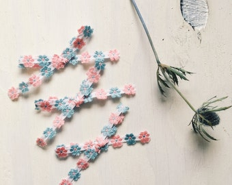 Vintage [ blue and pink floral ] bow