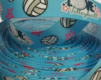 1 inch   - Love VOLLEYBALL on Light Blue Sports -   Printed Grosgrain Ribbon for Hair Bow