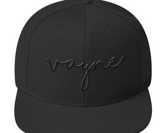Signature Vayne Snapback, Headwear, Flatbill, Black Baseball Cap, Black Hat