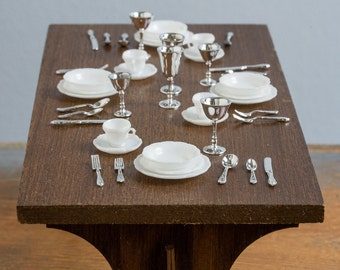 Vintage Chrysnbon Plastic Dinnerware Set - Plates, Bowls, Cups, Saucers, Flatware, Wine Goblets - 1:12 Scale Dollhouse Accessories