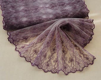 Width 11.81 inches purple lace trim,flowers embroidered lace,lace trim for bridal veil, trim lace for DIY dress(95-205)