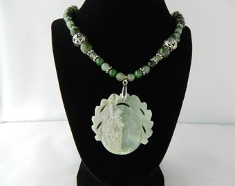 """Jade Beaded 18"""" Necklace with Carved Jade Pendant"""