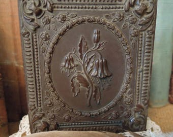 Antique Floral Thermoplastic Case / Victorian Tintype Photo / Daguerreotype in Floral Case / Doubled Sided Photo Case