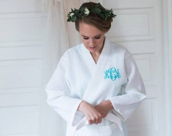 Gift For Her - Personalized Gift - Monogrammed Waffle Weave Robe for Mom, Wife, Sister, Best Friend or Any Special Woman In Your Life