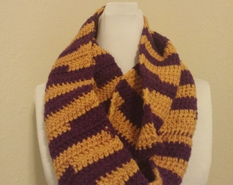 Purple and gold infinity cowl, Crochet infinity cowl, LSU colors