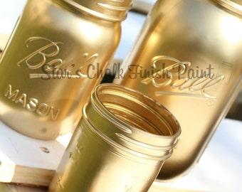 Gold Mason Jars Set of 3...32oz 16oz 8oz. Gold Paint Spray