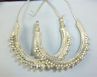 Tribal Earrings, Vintage Afghani Tribal Hoop Earrings
