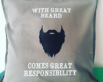 Beard Cushion, Beard Gift, Beard Lover, Motivational Quote, Male Cushion Cover , Quote Cushion Cover, Male Christmas Gift, Birthday Gift,