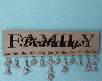 Family birthday sign, calendar, western sign