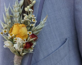 Sunset Roses Garden Dried Flower Buttonhole