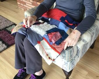 Busy Blanket for Dementia | Fidget Quilt | Alzheimer's Quilt | Fidget Blanket | Stroke Rehab | DENIM BANDANNA POCKET by Restless Remedy