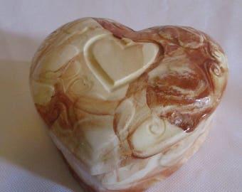 Vintage Heart shaped ceramic dresser trinket box