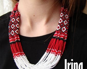Red and white Folk Ukrainian necklace . Ukrainian Beads multistrand Neclace. Gerdan to vyshyvanka. Traditional necklace. ethnic. folk