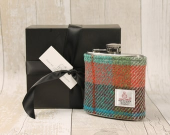 Hip Flask / Harris Tweed / Green and Orange Check / Groomsmen Gift / Flask / Plaid Hip Flask / Wedding / Best Man Gifts