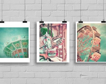 Set of 3 Vintage Carnival Art Prints