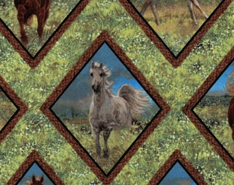 Horse Diamonds- 100% Cotton High Quality Fabric-Wild Wings Collection-Spring Creative