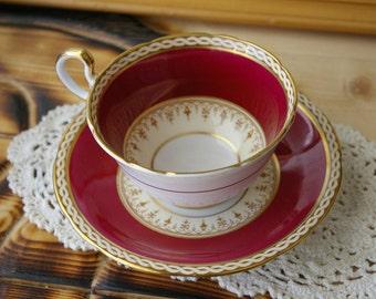 Regal Maroon & Gold Aynsley Vintage Teacup and Saucer