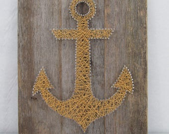 Gold Sparkly Anchor String Art - Nail Art - Home Decor - Nautical