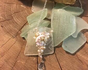 Beach Wedding Shell, Pearl & Crystal necklace