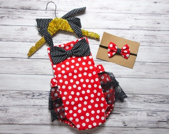 Baby Girl Romper, red and white polka dot romper and head wrap set, red and black lace romper, black and red romper