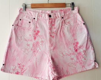 Pink Floral High Waisted Denim Shorts