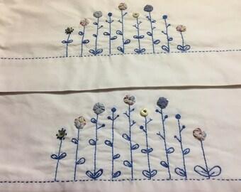 Blue Yoyo Flower Garden Pillowcase set Hand embroidered. Vintage shell Buttons.